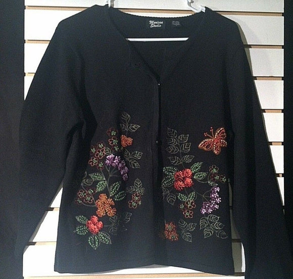 Women's Black Embroidered Sweater Size L by Marissa Studio (00964)