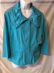 Women's New Turquoise Windbreaker Size 12 by Tribella (02770)