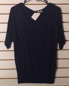 Women's New Blue Beaded Top Size S by H & M (01658)
