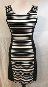 Women's Black & White Striped Stretch Dress Size S by Express (03145)