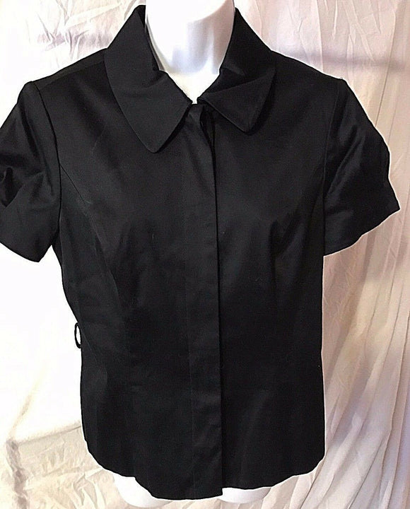 Women's Black Button Down Blouse Size 8 by INC International Concepts (02511)