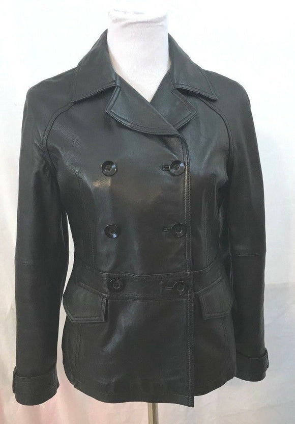 Women's Black Leather Double Breasted Jacket Size S by R & O (03454)