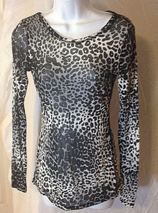 Women's Sheer Black & White Animal Print Shirt Size S by Express (02441)