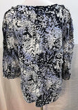 Women's Plus Size Blue Decorative V-Neck Tunic Size 1X by Valerie Bertinelli (03590)