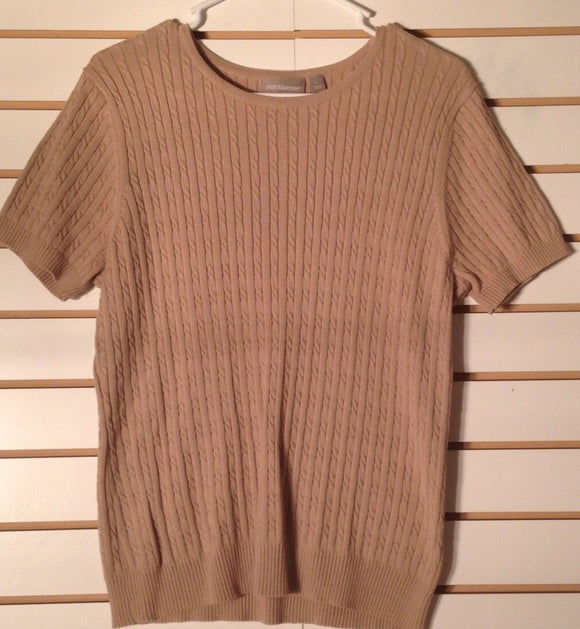 Women's Crewneck Tan Sweater Top Size L by Croft & Barrow (01549)
