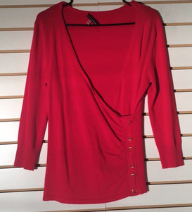 Women's Red Faux Wrap Knit Top Size S by Cable & Gauge  (01720)