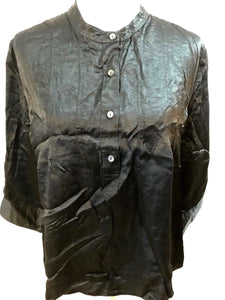 Women's Black Crinkle Button Down Shirt Size XL by GAP (03538)