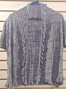 Women's Gray Ribbed Scalloped Edge Cardigan Size L by heather B (00173)