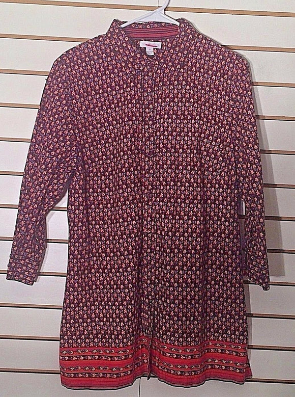 Women's Brown Floral Button Down Shirt Size M by Charter Club (02253)