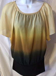 Women's Yellow & Black Top Size S by Cacoma (02813)