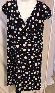 Women's Plus Size Navy Blue Polka Dot Dress Size 14W by Dorby Women (02858)