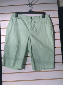 Women's Green Striped Walking Shorts by Ralph Lauren (01199)