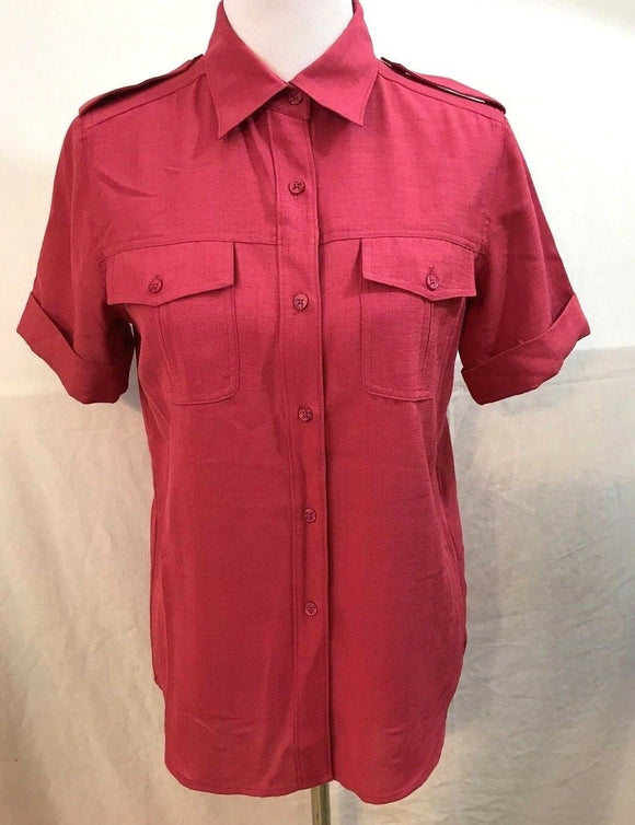 Women's Rose Colored Button Down Blouse Size S by Patchington (03542)
