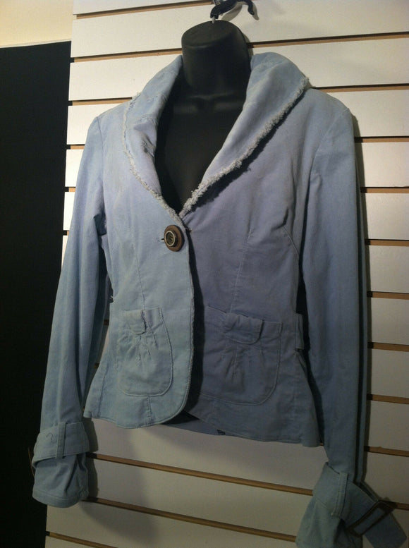 Women's Light Blue Corduory Jacket by XOXO (00459)
