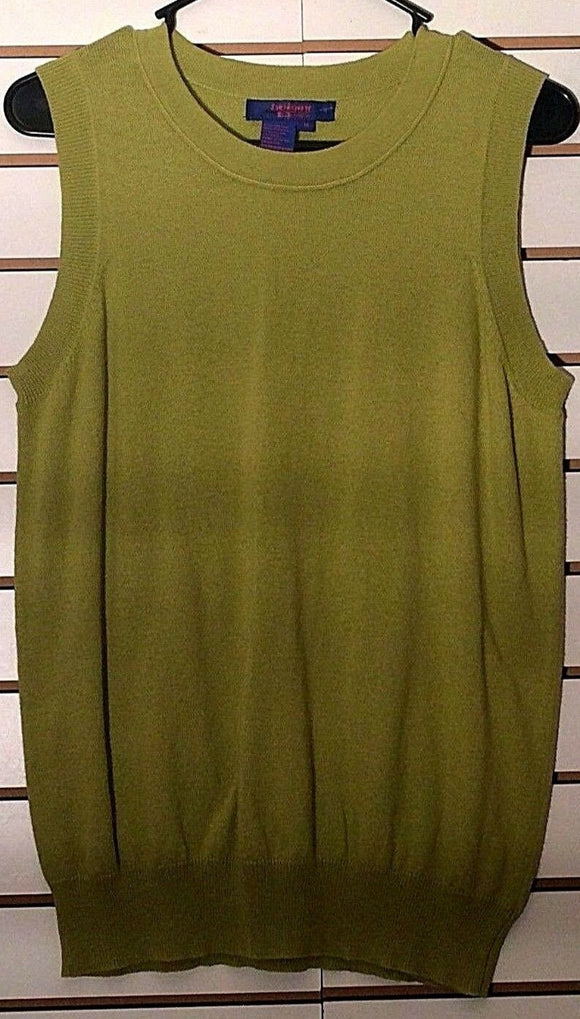 Women's Pea Green Sleeveless Knit Top Size M by Twiggy (02146)