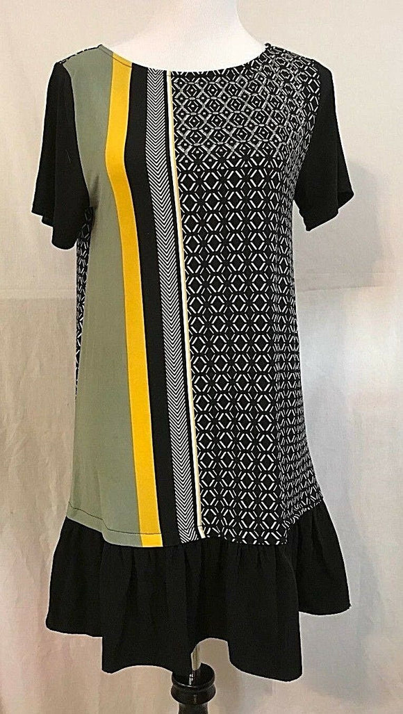 Women's Black Multi-Color Patterned Drop Waist Dress Size M by Style&co. (03344)