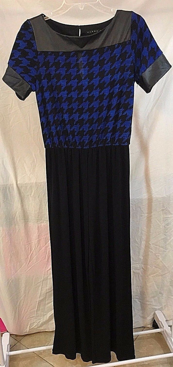 Women's Royal Blue & Black Houndstooth Jumpsuit by Tiana B (03039)