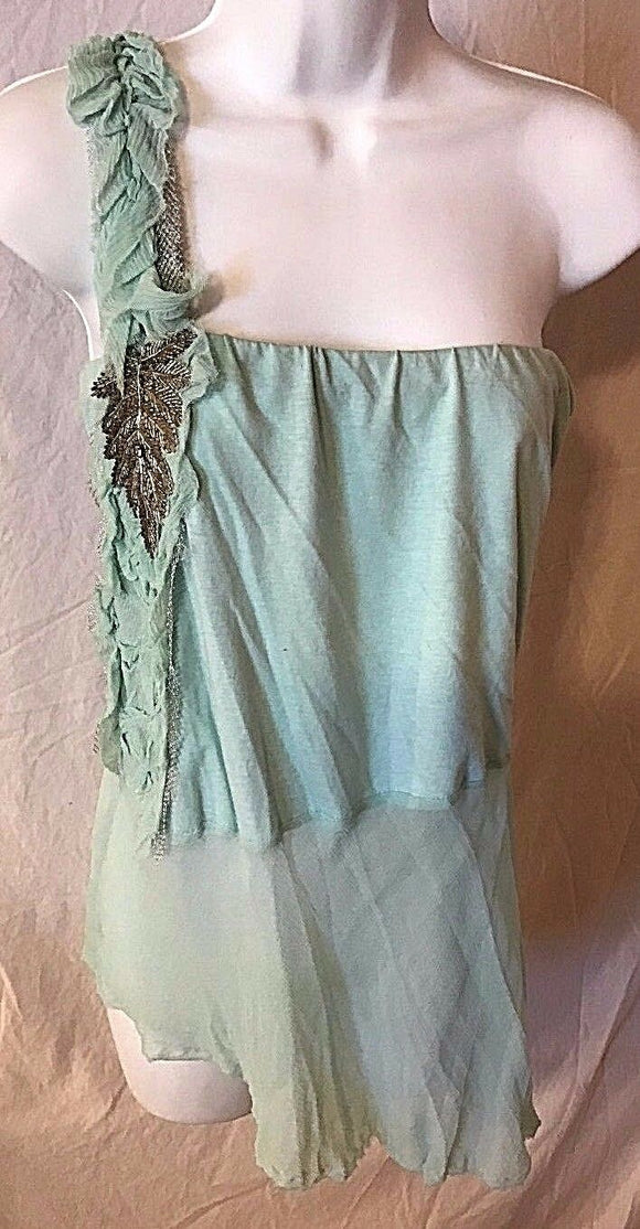 Women's Mint Green One Shoulder Tank Size M by Fifi Collection (02599)