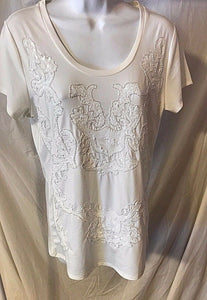 Women's White Beaded Sequined Top Size M by Carmen (02826)