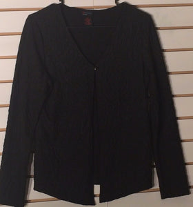 Women's Petite Black Textured Cardigan Size PM by DStudio Petite (01659)