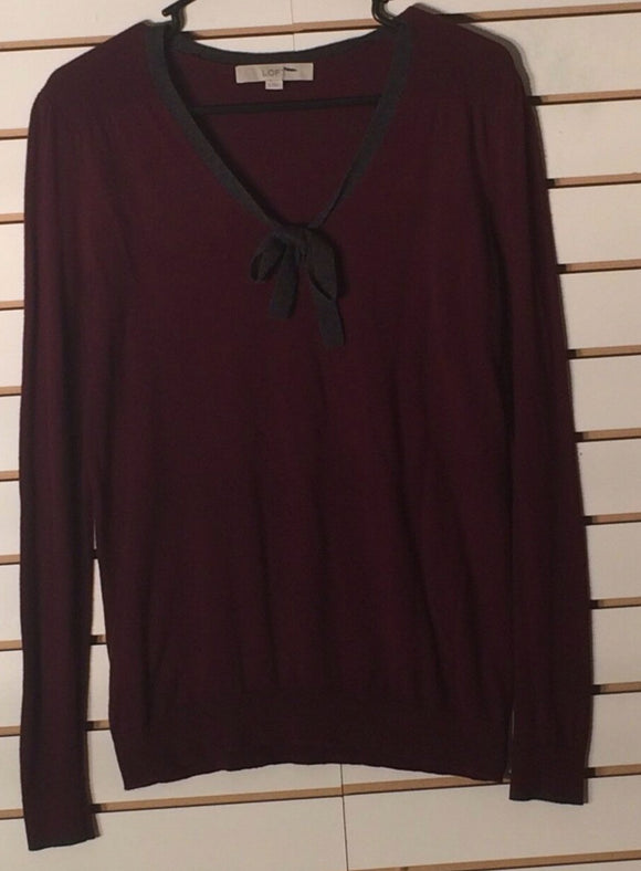 Women's Wine Colored V-Neck Knit Top Size S by Ann Taylor LOFT (01632)