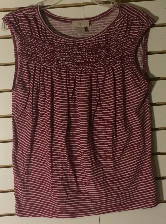 Women's Petite Fuchsia & White Striped Top Size LP by Ann Taylor LOFT (01444)