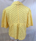 Women's Yellow Linen Eyelet Short Sleeve Blazer Size 12 by Style&co. (03090)