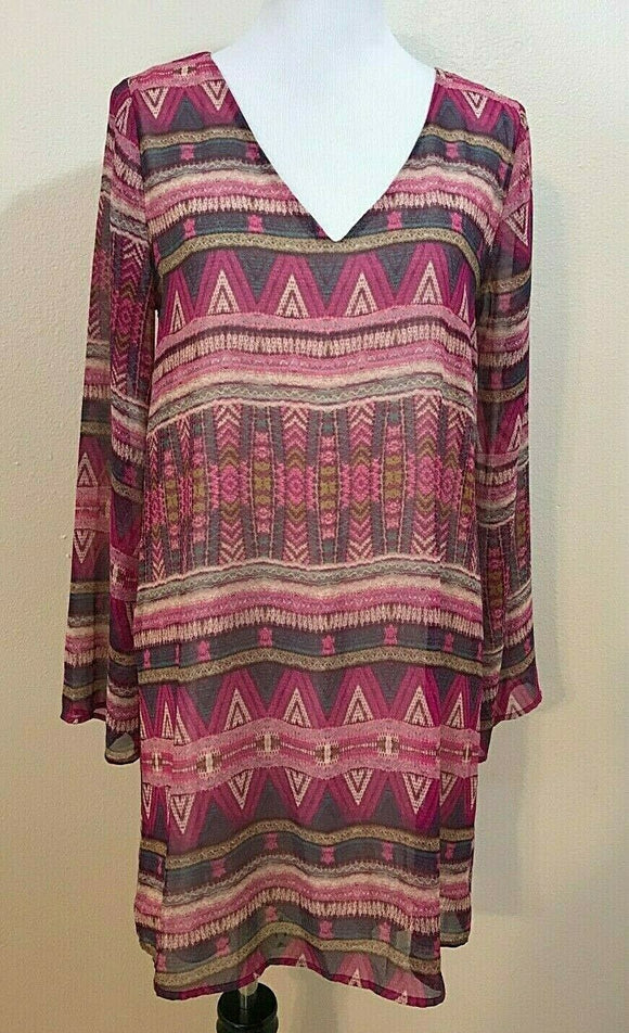 Women's Pink Multicolor V-Neck Aztec Design Dress Size M by Everly (04152)