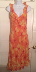 Women's V-Neck Orange Floral Asymmetrical Hem Dress Size 6 by Donna Rico (01815)