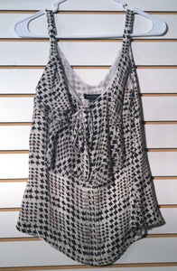 Women's Silk Houndstooth Tank Shirt Size XS by White House/Black Market (01125)