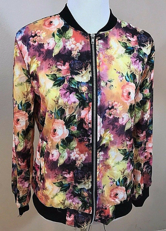 Women's Multi-Color Floral Light Jacket Size XXL (02917)