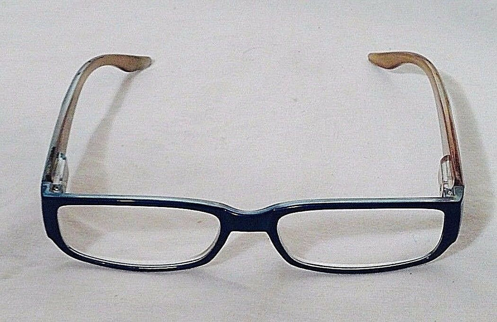 Women's Blue Reading Glasses +2.50 by Spring Temple w/Striped Pouch (HB101)