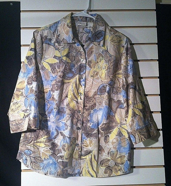 Women's Petite Multi-Color Floral Shirt Size 10P by Kim Rogers Petite (00968)