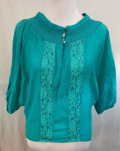 Women's Green Lace Striped Blouse Size M by Unique Spectrum (03357)