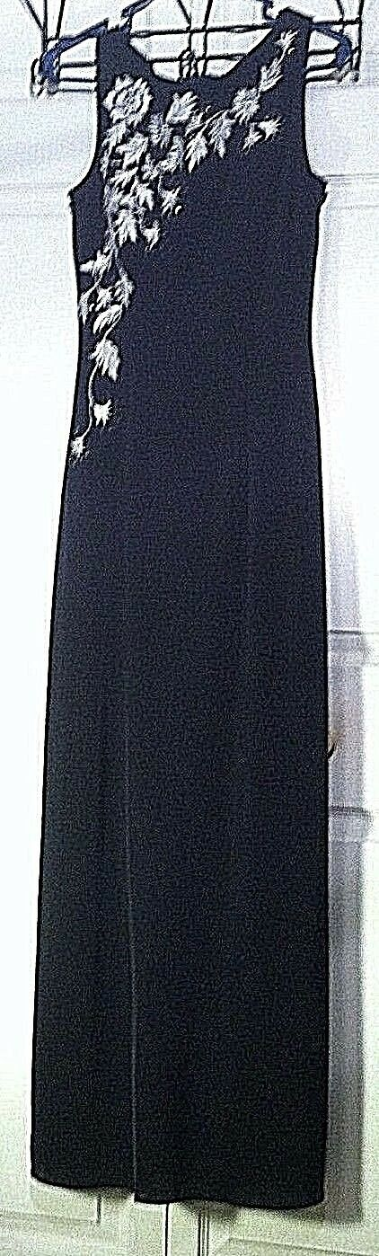 Women's Black Flowered Embellished Gown by J.S. Boutique (00289)