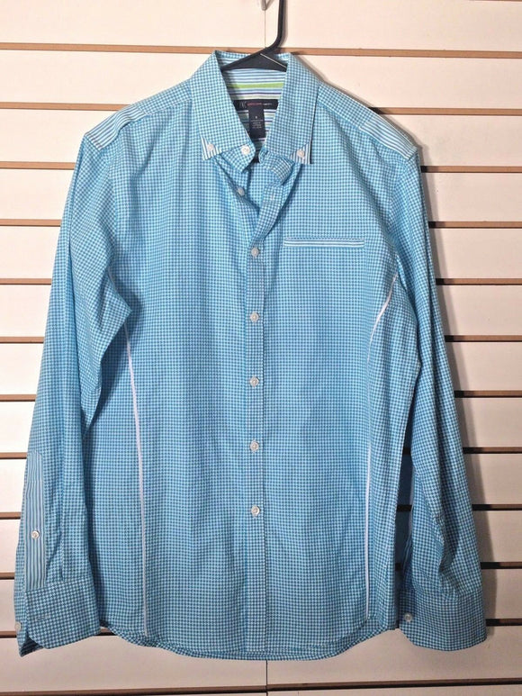 Women's Aqua Checked Button Down Shirt Size S by International Concepts (02052)