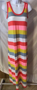 Women's Multi-Color Striped Long Tee-Shirt Dress Size S by GAP (02729)