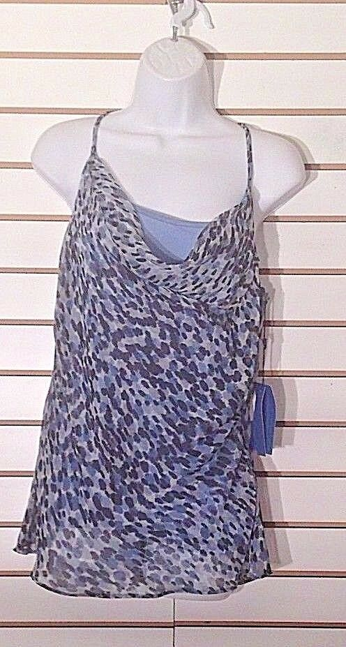 Women's New Blue Animal Print Double Tank Top Size M by Simply Vera Vera Wang (02199)