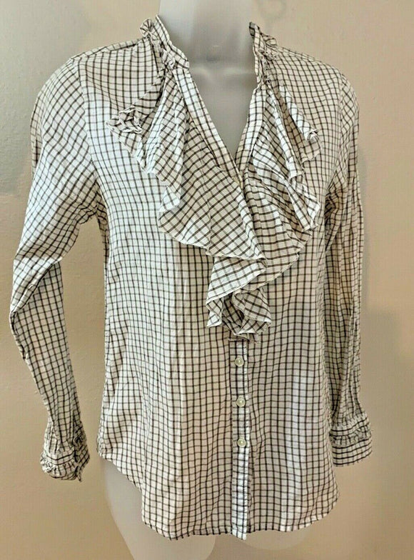 Women's White & Tan Ruffled, Checked Button Down Shirt Size XS by GAP (04446)