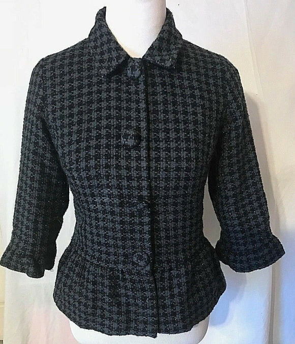 Women's Black & Gray Shiny Thread Houndstooth Peplum Blazer Size S by Mossimo (03223)