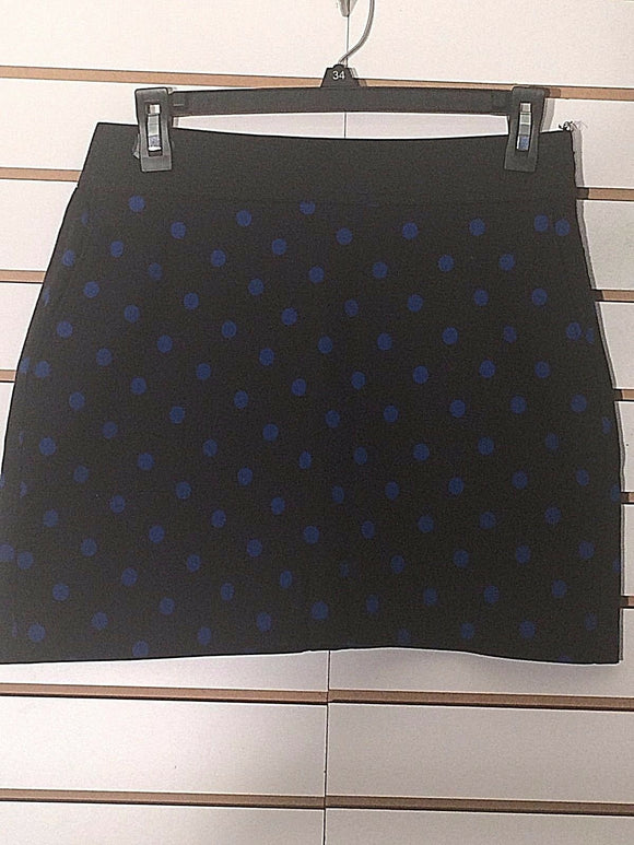 Women's Black & Blue Polka Dot Skirt Size 8 by Investments (02248)