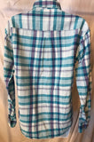 Women's Blue Plaid Button Down Shirt Size XS/TP by American Eagle Outfitters (02806)