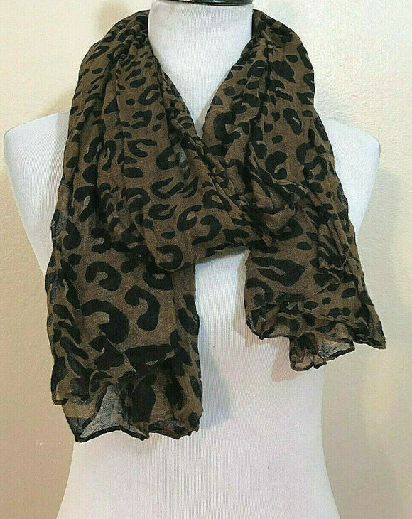 Women's Rust & Black Animal Print Long Versatile Scarf (AC101)