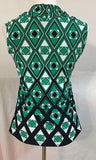 Women's Petite Green & Navy Blue Patterned Top Size PM by Nue Options Petites (03330)