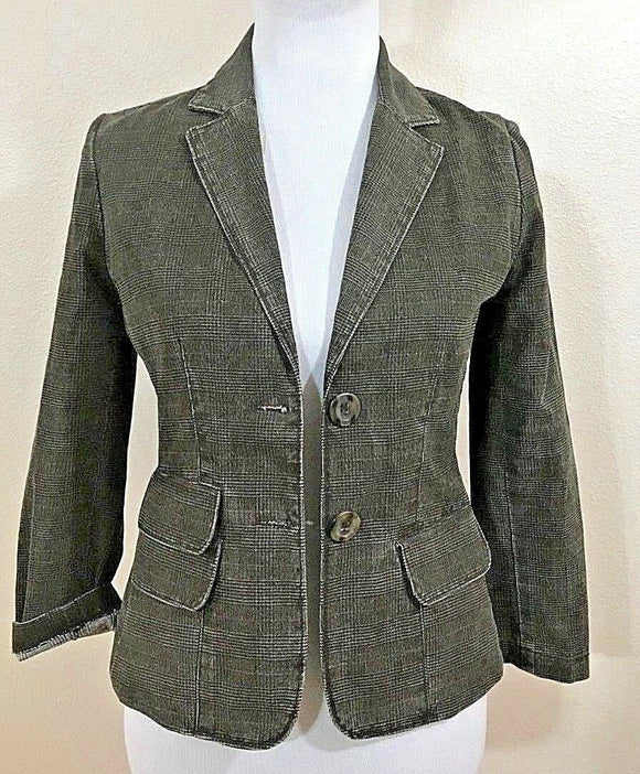 Women's Brownish Green Plaid Blazer Size 4 by Vince (04110)