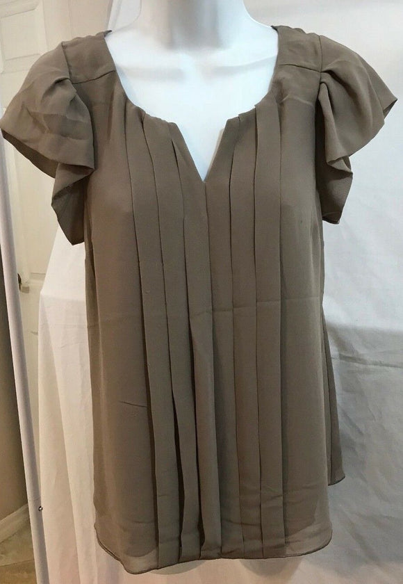 Women's Taupe Pleated Front Blouse Size XS by Express (03631)