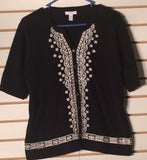 Women's Black & White Embellished Sweater Size L by Charter Club (01533)
