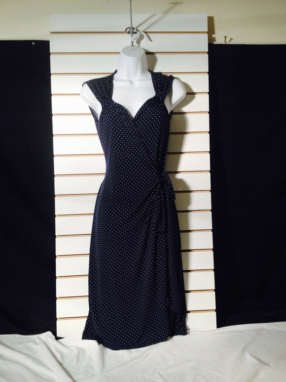 Women's Navy Blue Polka Dot Wrap Dress by George Stretch (01143)