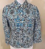 Women's Blue Paisley Silver Embellished Collar Top Size 8 by Ruby Rd. (02963)
