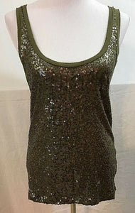Women's Olive Green Sequined Tank Top Size S by J. CREW (03554)